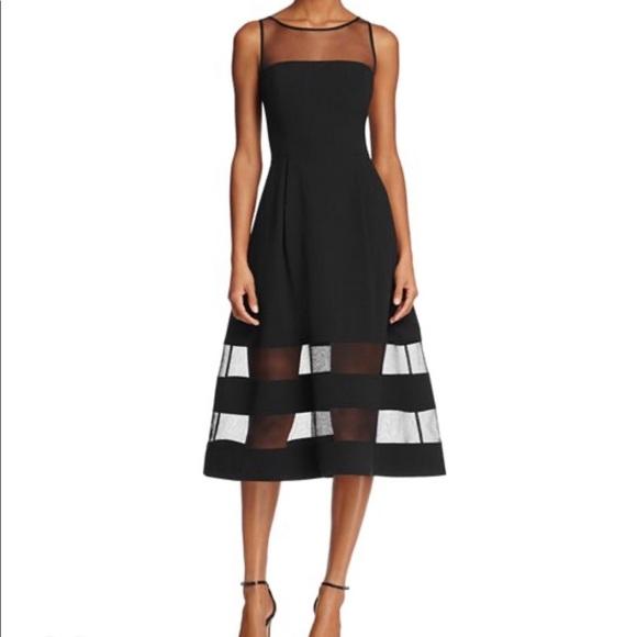 Aidan By Aidan Mattox Illusion Fit-and-Flare Dress